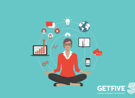 Businesswoman practicing mindfulness meditation, she is clearing her mind, releasing stressful toughts and expressing her potential; yoga and self consciousness concept