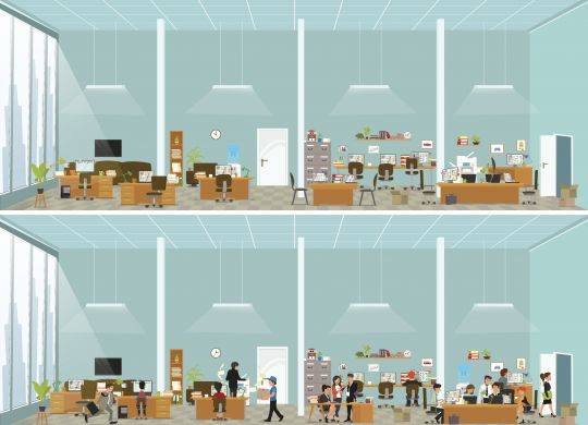 crazy office. working atmosphere in the office. coordinated work in friendly team in the office. modern office. vector illustration of a flat style.