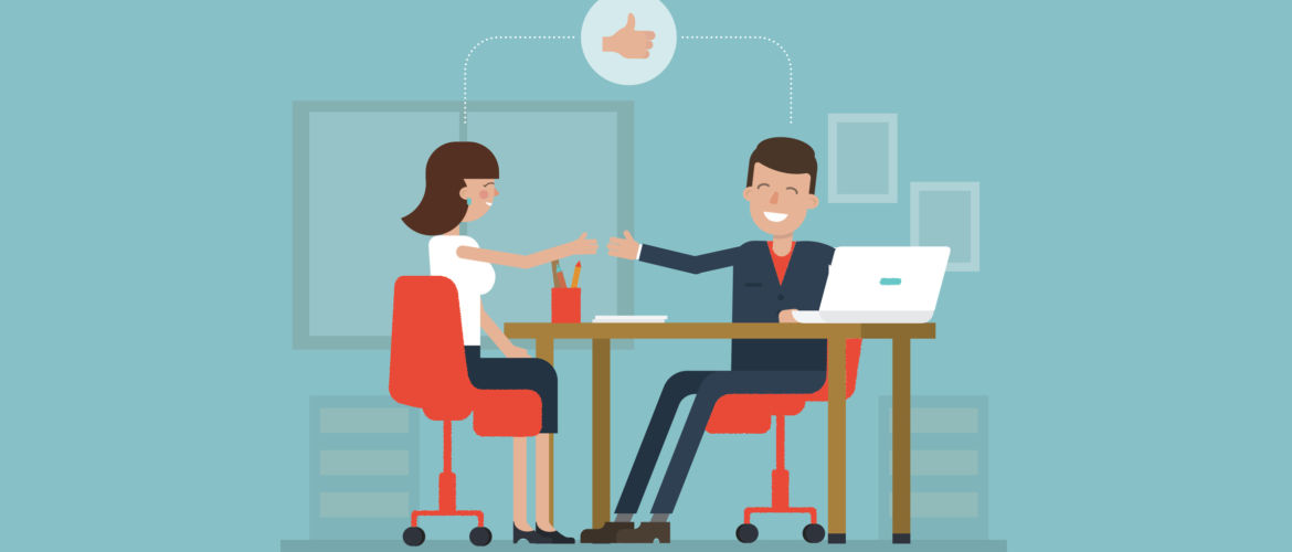 Vector concept of job interview women in flat style. Jobseeker and employer sit at the table and talk. Good impression. Thumbs up! Simple concept with working situation, recruitment or hiring.