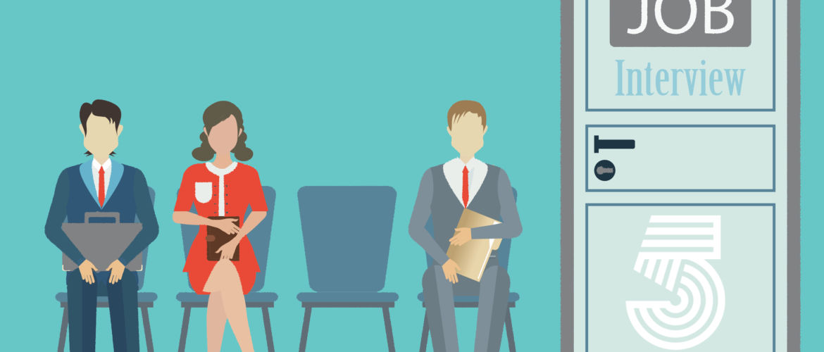Businesspeople with files sitting on chair front of a door for giving interview, job interview conceptual vector illustration.