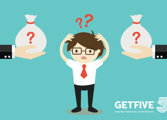 Business concept, Businessman confuses between two choices of money. Vector illustration.