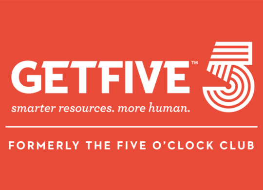 GetFive logo with formerly TFC - Red background - bigger formerly line 1140x487 600 res