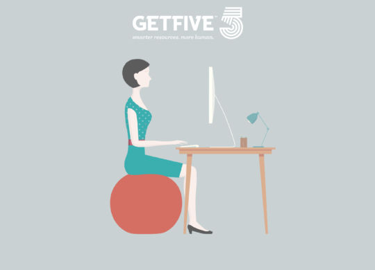 Correct posture for sitting at an office desk. Diagram shows a woman typing at her desk sitting on a stability ball. This is an editable EPS 10 vector illustration. Download includes a high resolution JPEG.