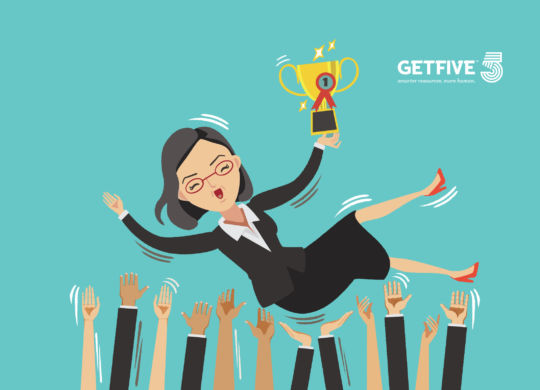 women business leader with a trophy and his team celebrating their success.Isolated on white background.Vector illustrations