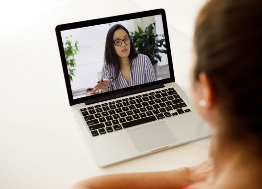 Woman on a video call.